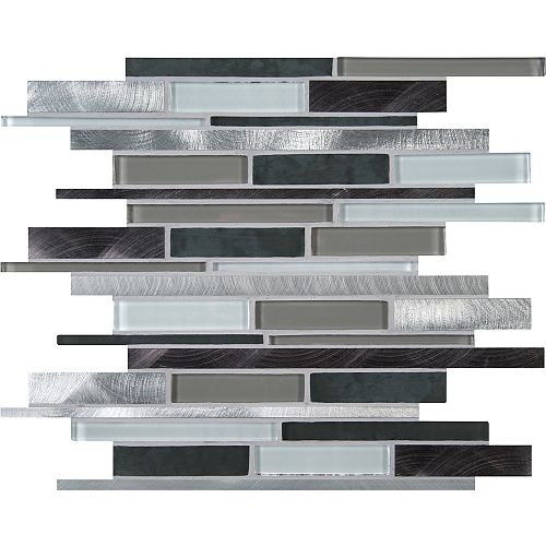 Cityscape Interlocking 12-inch x 12-inch Glass/Metal Mesh-Mounted Mosaic Wall Tile (10 sq.ft. /case)