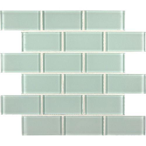 Carr. de mosaïque de verre montés sur filet Arctic Ice Subway de 2 po x 4 po x 8 mm (10 pi ca/bte)