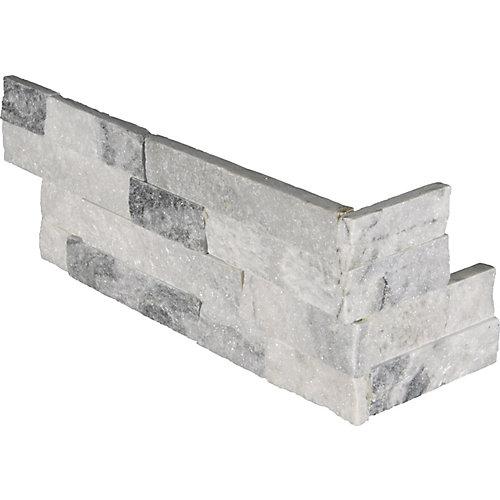 Alaska Gray Ledger Corner 6-inch x 18-inch Split-face Marble Wall Tile (4.5 sq.ft./Case)