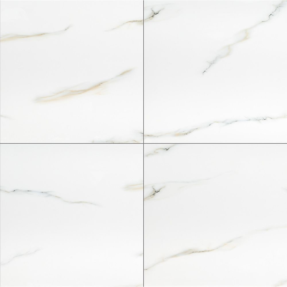 MSI Stone ULC Aria Bianco 24-inch x 24-inch Polished Porcelain Floor and Wall Tile (16 sq.ft. / case)