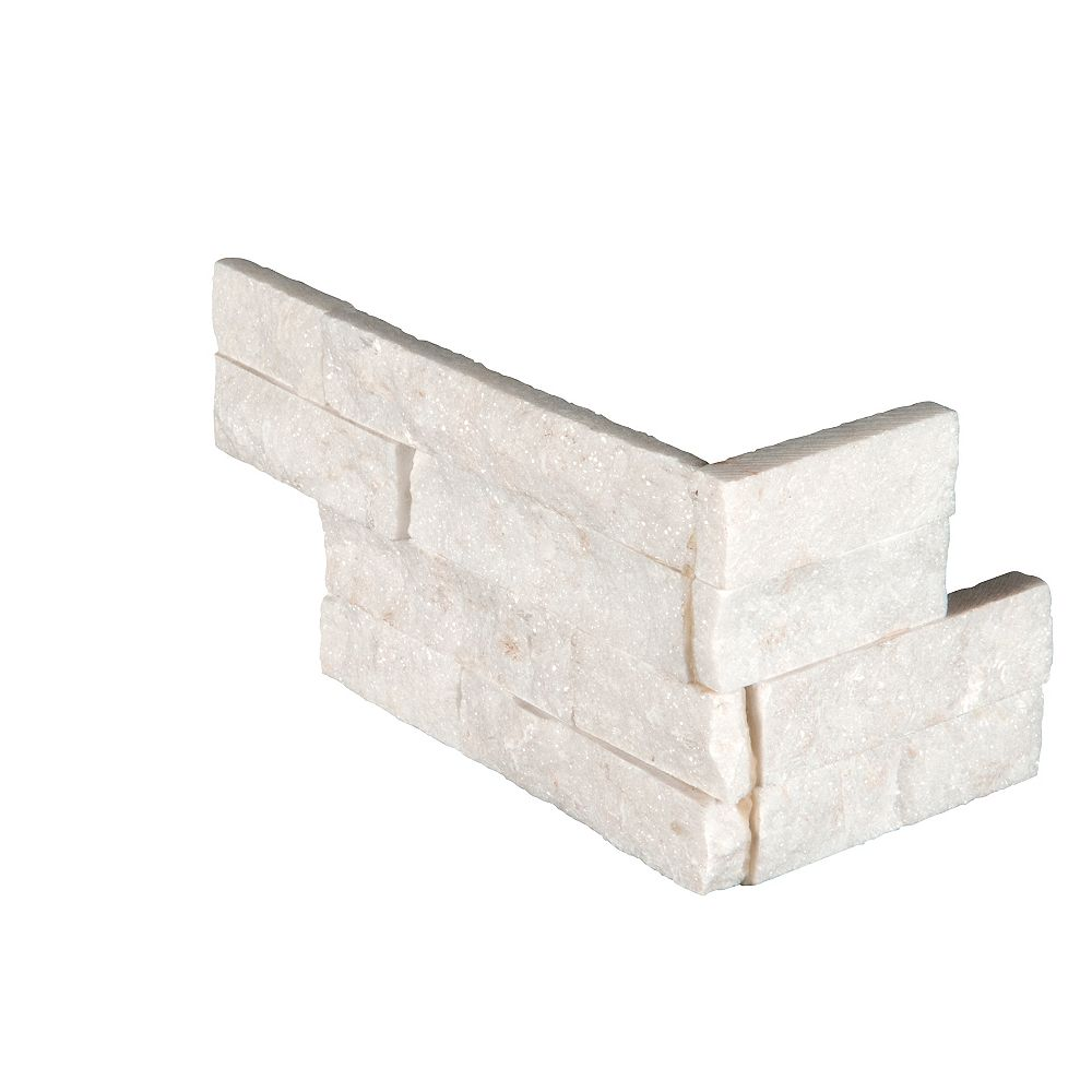 MSI Stone ULC Arctic White Ledger Corner 6-inch x 18-inch Natural Marble Wall Tile (4.5 sq. ft. / Case)
