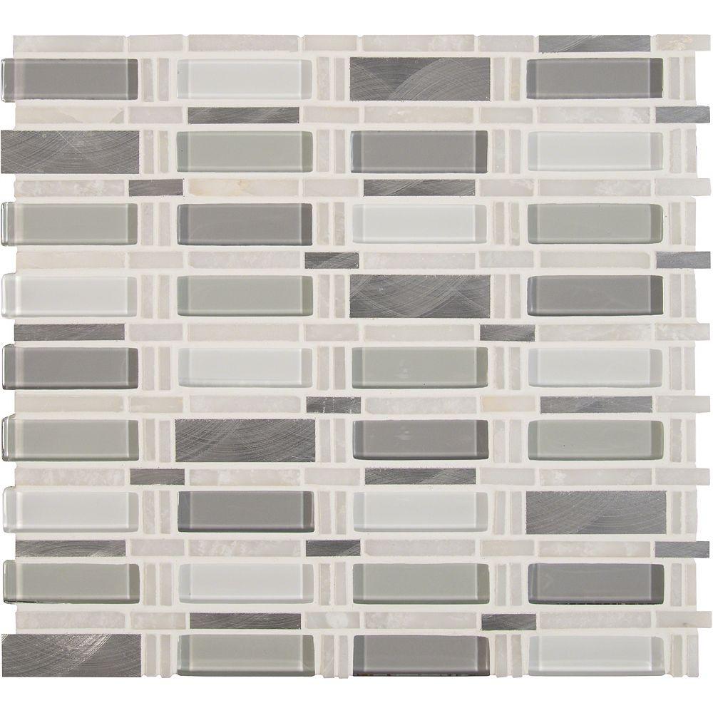 MSI Stone ULC Icelandic Blend Pattern 12-inchx12-inch Glass Metal Stone Mesh-Mounted Mosaic Tile (10 sq. ft./case)