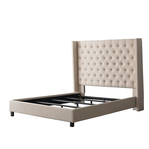 Fairfield Cream Tufted Fabric Bed with Wings, Twin/Single