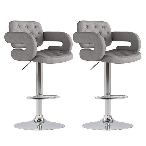 Corliving Adjustable Tufted Medium Grey Fabric Barstool with Armrests (Set of 2)