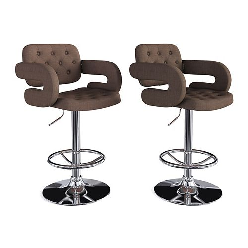 Corliving Adjustable Tufted Dark Brown Fabric Barstool with Armrests (Set of 2)