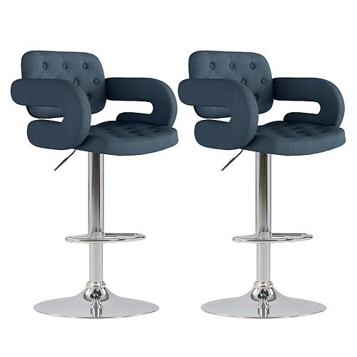 Adjustable Tufted Dark Blue Fabric Barstool with Armrests (Set of 2)