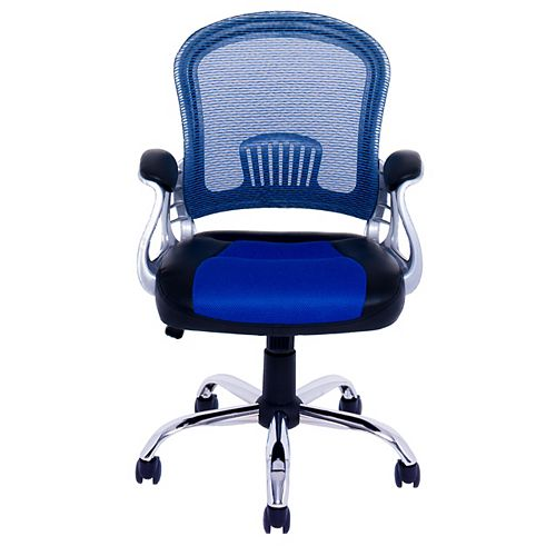 Corliving Workspace Office Chair in Black Leatherette and Blue Mesh