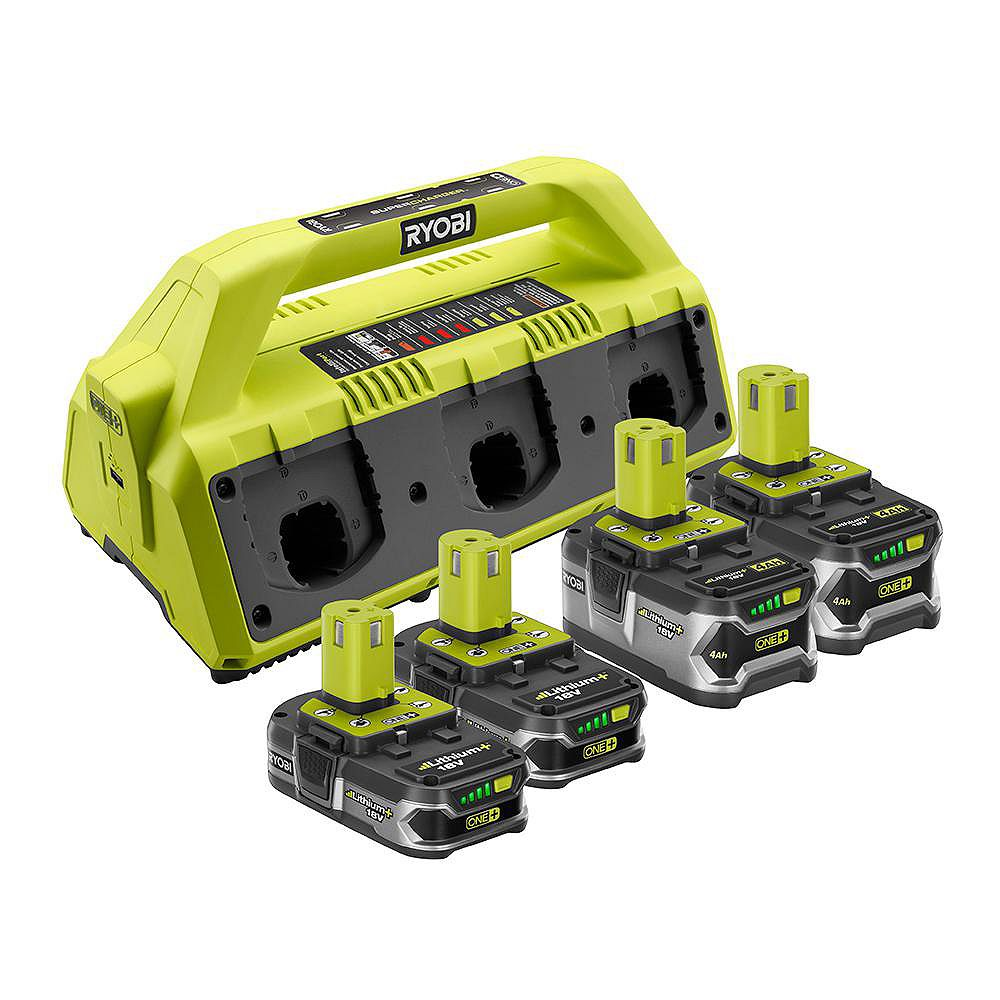 RYOBI 6-Port Dual Chemistry Battery Super Charger with (2) 4.0AH Batteries and (2) 1.5Ah Lithium+ Batteries