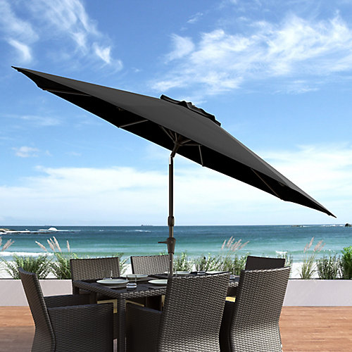 10 ft. UV and Wind Resistant Tilting Black Patio Umbrella