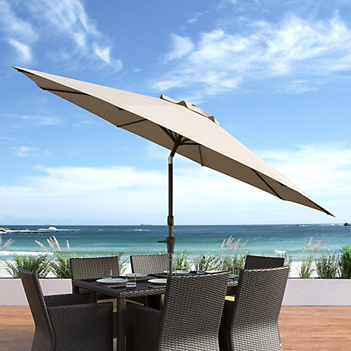 10 ft. UV and Wind Resistant Tilting Warm White Patio Umbrella