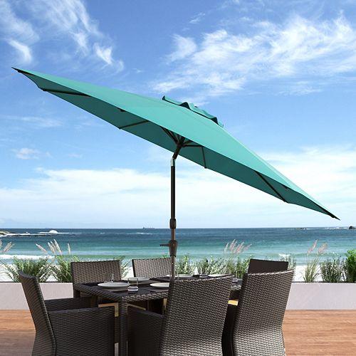 Parasol de patio/plage pivotant resistant aux UV et au vent bleu turquoise de 10 pieds