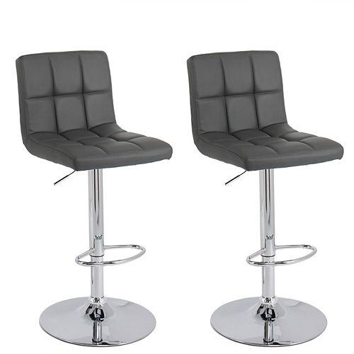 Medium Back Adjustable Barstool in Dark Grey Bonded Leather, (Set of 2)