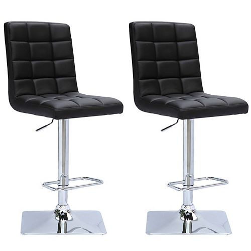 Corliving Adjustable Barstool in Black Bonded Leather (Set of 2)