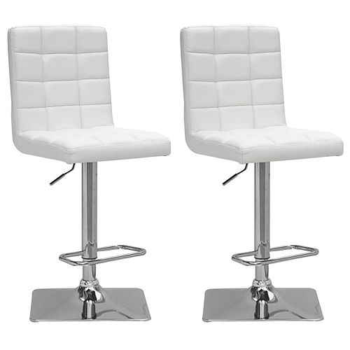 Adjustable Barstool in White Bonded Leather (Set of 2)