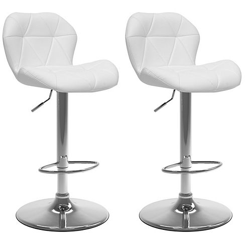 Corliving Adjustable Barstool in White Bonded Leather (Set of 2)