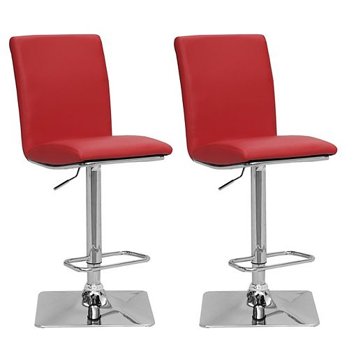 Adjustable Bar Stool in Red Bonded Leather (Set of 2)