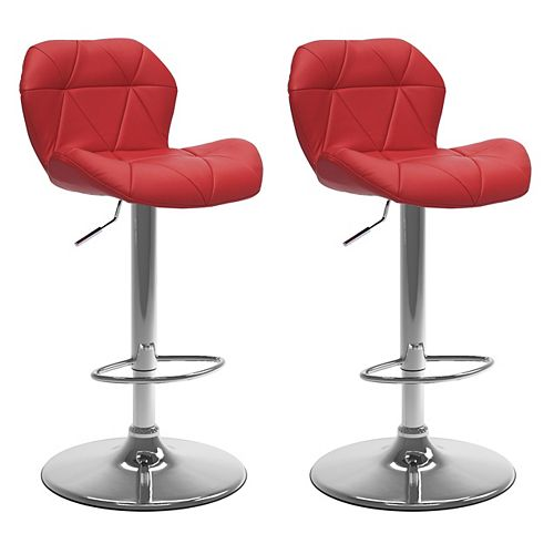 Adjustable Barstool in Red Bonded Leather (Set of 2)