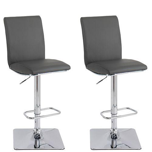 Adjustable Barstool in Dark Grey Bonded Leather (Set of 2)