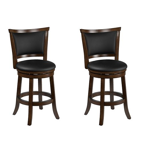 Corliving Woodgrove Brown Wood Counter Height Barstool with Bonded Leather Seat (Set of 2)