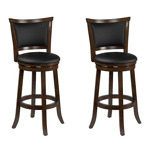 Woodgrove Brown Wood Bar Height Barstool with Bonded Leather Seat (Set of 2)