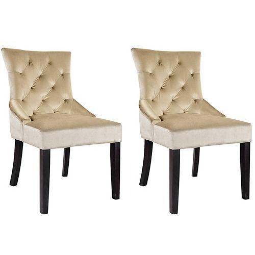 Antonio Accent Chair in Soft Beige Velvet, (Set of 2)