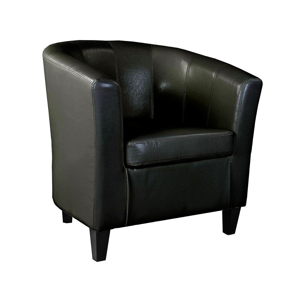 Corliving Antonio Tub Chair in Black Bonded Leather