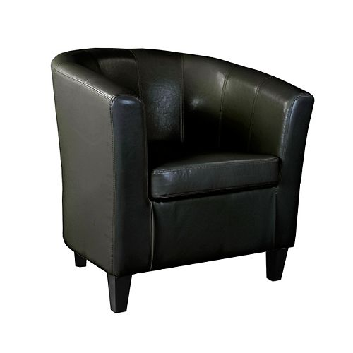 Antonio Tub Chair in Black Bonded Leather