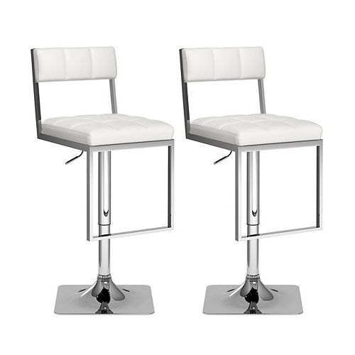 Corliving Square Tufted Adjustable Barstool in White Leatherette (Set of 2)