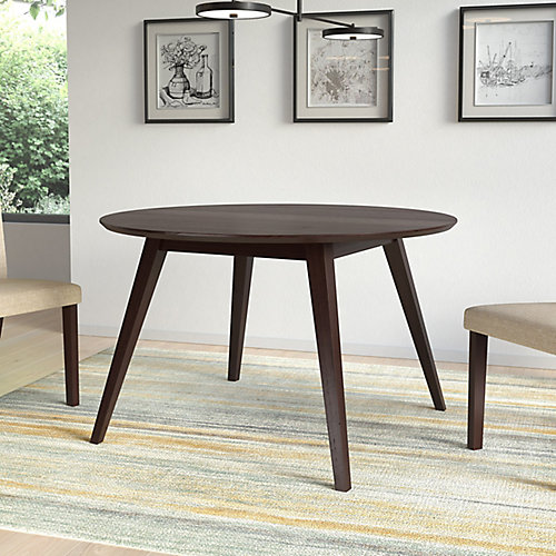 Atwood Round Dining Table in Cappuccino Stained Finish