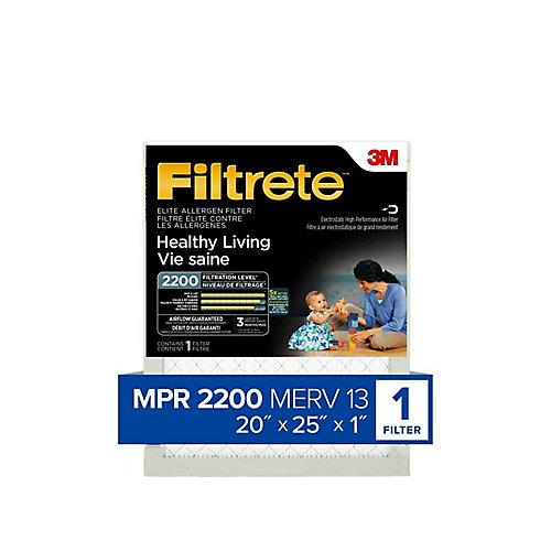 Healthy Living Elite Allergen Filter, MPR 2200, 20 inch x 25 inch x 1 inch