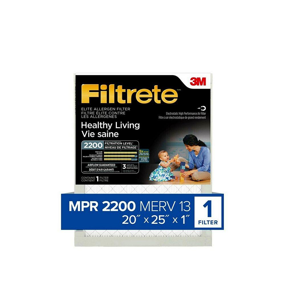 Filtrete Healthy Living Elite Allergen Filter, MPR 2200, 20 inch x 25 inch x 1 inch