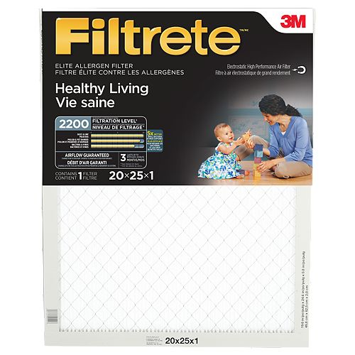 Filtre élite pour la réduction des allergènes «Vie saine» Filtrete(MC), MPR 2200, 20 x 25 x 1po