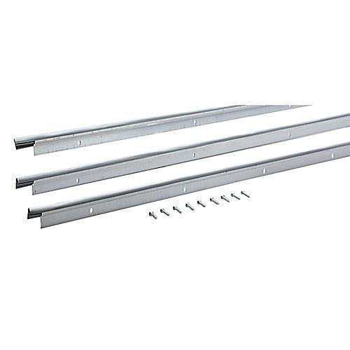 2x84po et 1x 36po Ensemble de coupe-froid à profil plat pour haut et côtés de montant de porte - Blanc