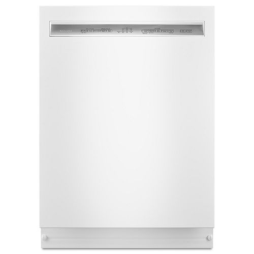 KitchenAid Front Control Dishwasher in White with Stainless Steel Tub, 46 dBA