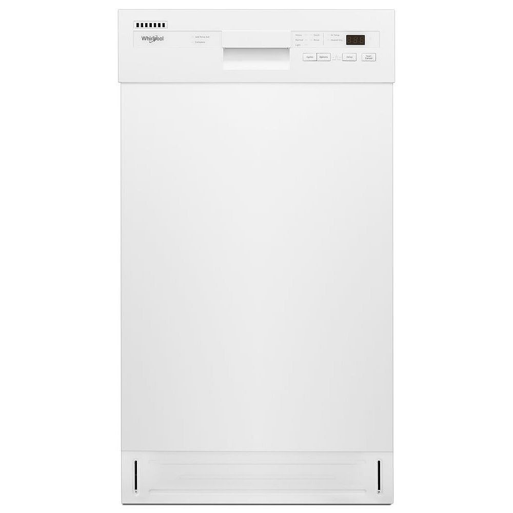 Whirlpool 18-inch W Front Control Dishwasher in White with Stainless Steel Tub, 50 dBA - ENERGY STAR®