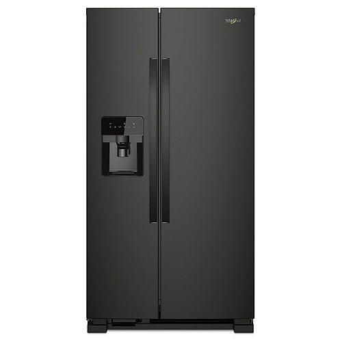 36-inch W 25 cu. ft. Side-by-Side Refrigerator in Black