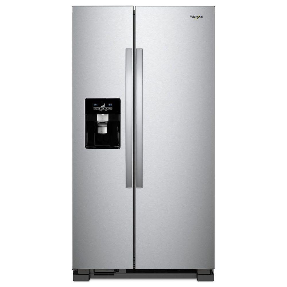 Whirlpool 36-inch W 25 cu. ft. Side-by-Side Refrigerator in Stainless Steel