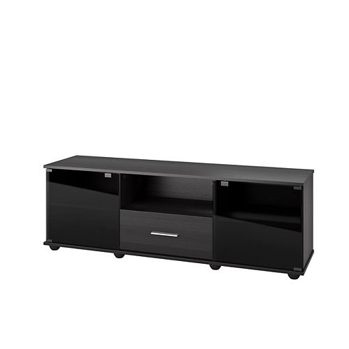 Corliving Fernbrook TV Stand in Black Faux Wood Grain Finish, for TVs up to 70 inch