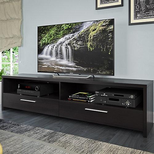 Meuble pour téléviseur Fernbrook avec faux-fini de bois noir, pour téléviseurs jusqu'à 70po