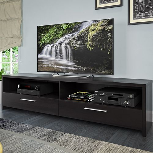 Fernbrook TV Stand in Black Faux Wood Grain Finish, for TVs up to 85Inch