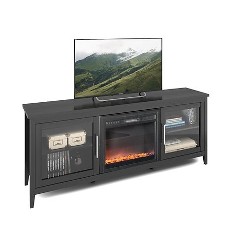 Jackson Black Wood Grain Fireplace TV Bench, for TVs up to 80Inch