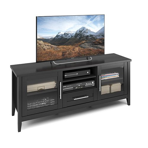 Jackson TV Bench in Black Wood Grain Finish, For TVs up to 65Inch