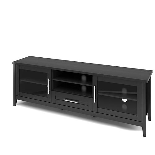 Corliving Jackson Extra Wide TV Bench in Black Wood Grain Finish, For TVs up to 80Inch