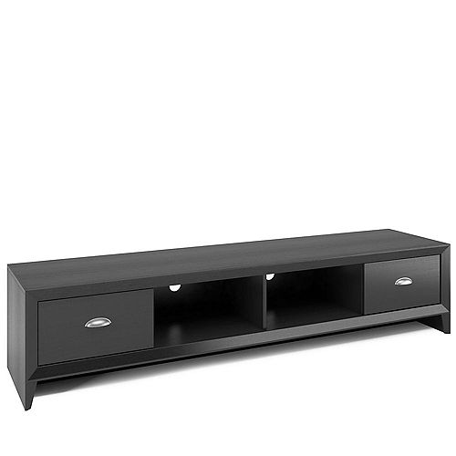 Lakewood Extra Wide TV Bench in Black Wood Grain Finish for TVs up to 80-inch