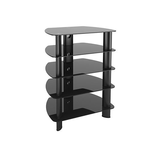 Corliving Laguna Satin Black Glass Component Stand