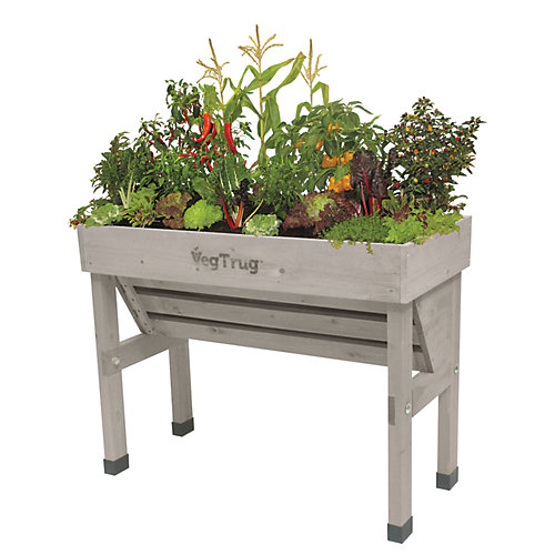 Wall Hugger Raised Garden Bed Planter in Grey Wash - Small