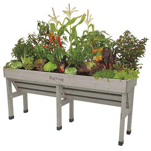 Grey Wash Wall Hugger Raised Garden Bed Planter - Medium