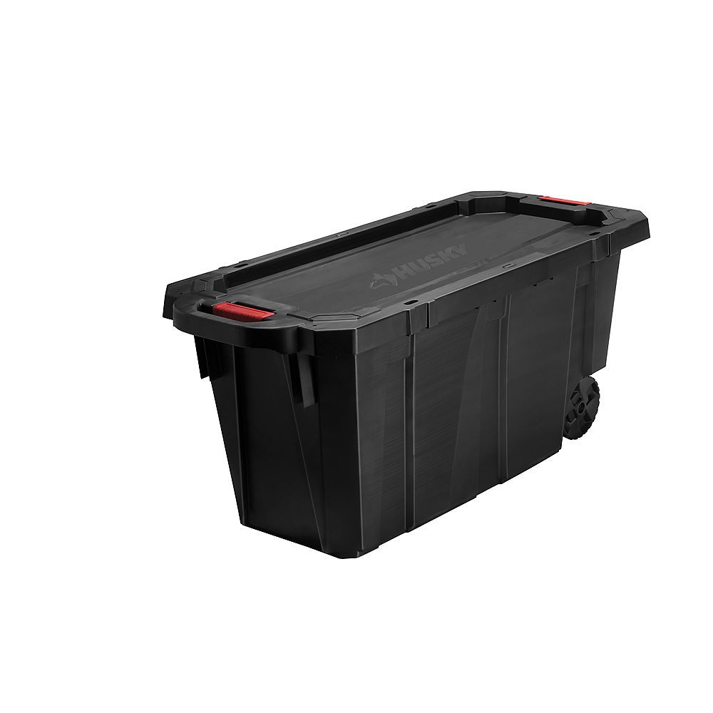 Husky HUSKY 170.3L (45 Gal.) Latch and Stack Tote with Wheels in Black