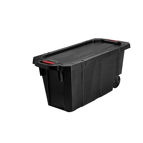 HUSKY 170.3L (45 Gal.) Latch and Stack Tote with Wheels in Black