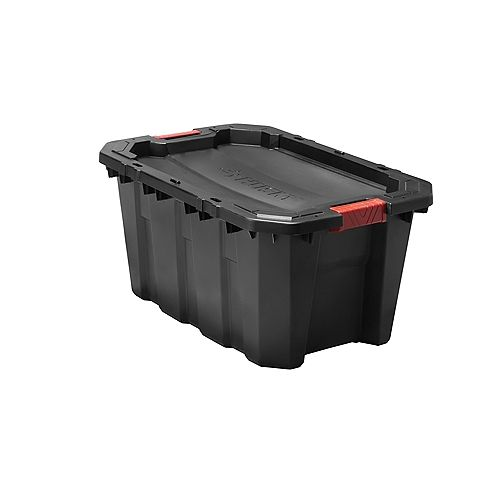 HUSKY 94.6L (25 Gal.) Latch and Stack Tote in Black